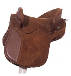 Leather and suede country saddle
