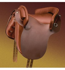 Leather country saddle with knee-heel