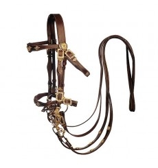 Marjoman portuguese bridle with dobuble reins