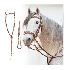 Cortezia set, bridle with two reins crupper and breastplate